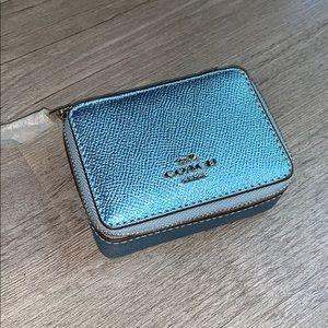 NWT Coach Triple pill Box Metallic Ice Silver blue